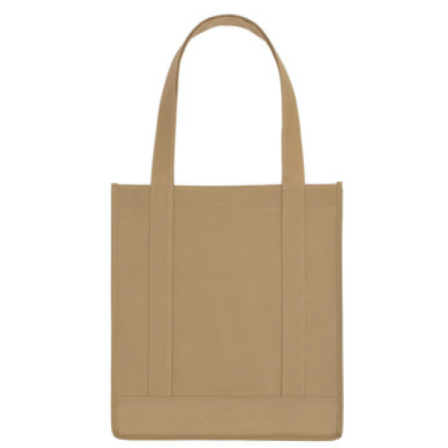 Tan Non-Woven Avenue Shopper Tote Bag as seen from the front