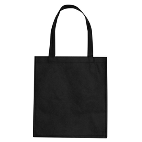 Black Non-Woven Promotional Tote Bag as seen from the front