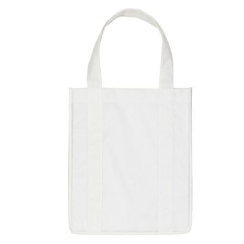 White Non-Woven Shopper Tote Bag as seen from the front