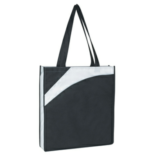 Black Non-Woven Conference Tote Bag as seen from the front