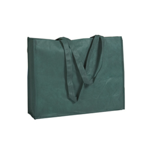 Forest Green Non-Woven Shopper Tote With Velcro Closure as seen from the front