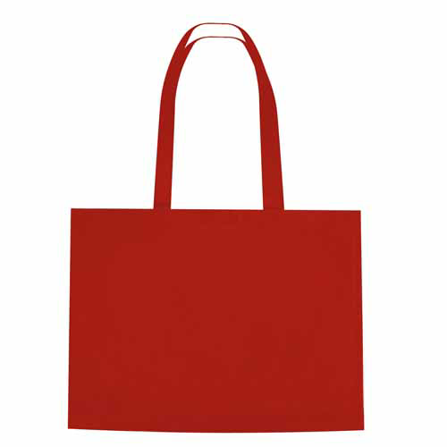 Red Non-Woven Shopper Tote With Velcro Closure as seen from the front