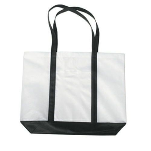 Black Non-Woven Tote Bag With Trim Colors as seen from the front