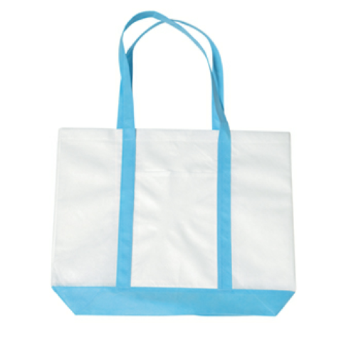 Carolina Blue Non-Woven Tote Bag With Trim Colors as seen from the front