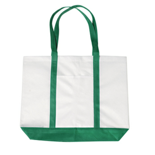 Kelly Green Non-Woven Tote Bag With Trim Colors as seen from the front