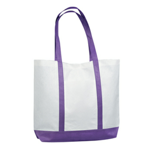 Purple Non-Woven Tote Bag With Trim Colors as seen from the front