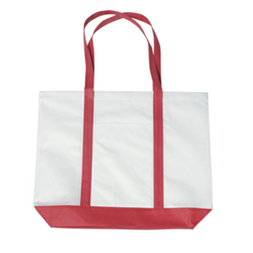 Red Non-Woven Tote Bag With Trim Colors as seen from the front