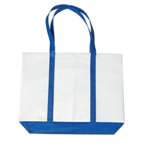 Royal Blue Non-Woven Tote Bag With Trim Colors as seen from the front