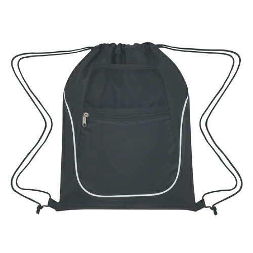 Black Drawstring Sports Pack With Dual Pockets as seen from the front