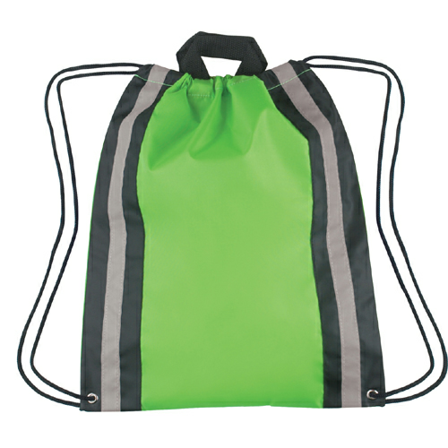 Lime Green Large Reflective Sports Pack as seen from the front
