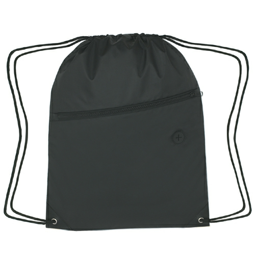 Black Sports Pack With Front Zipper as seen from the front