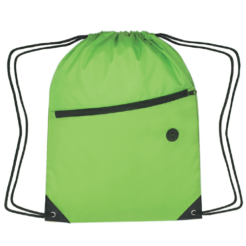 Lime Green Sports Pack With Front Zipper as seen from the front