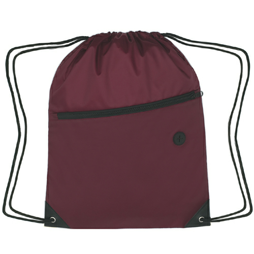 Maroon Sports Pack With Front Zipper as seen from the front
