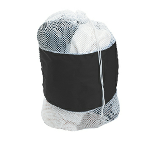 White/black Mesh Laundry Bag as seen from the front