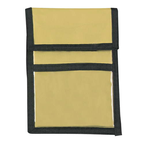 Khaki Nylon Neck Wallet Badge Holder as seen from the front