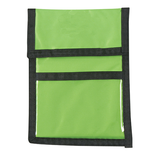 Lime Green Nylon Neck Wallet Badge Holder as seen from the front
