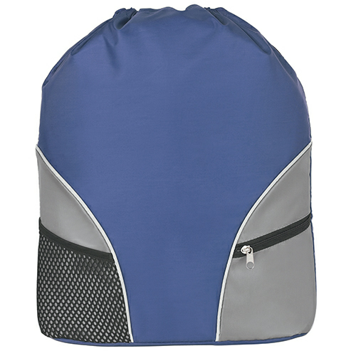 Royal Blue Drawstring Backpack as seen from the front