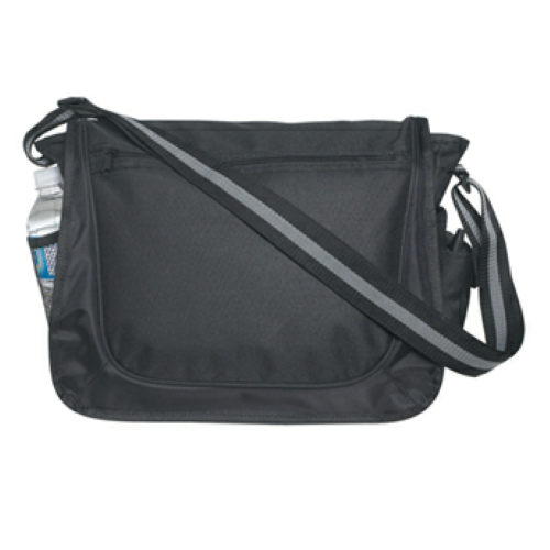Black Messenger Bag With Matching Striped Handle as seen from the front