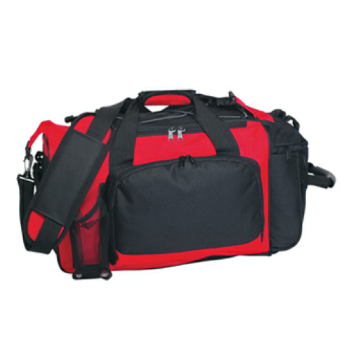 Red Deluxe Sports Duffel Bag as seen from the front