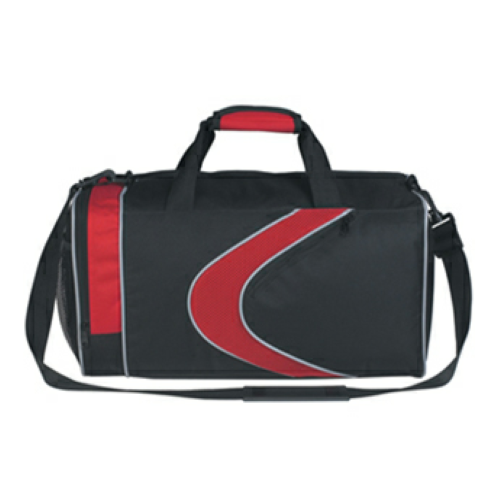 Red Sports Duffel Bag as seen from the front