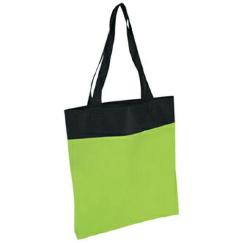 Lime Green Shoppe Tote Bag as seen from the front