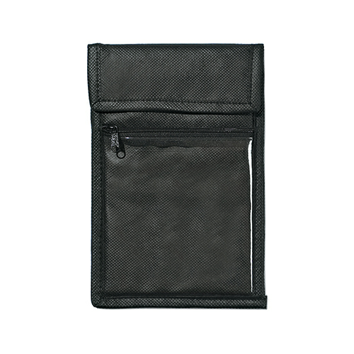 Black Non-Woven Neck Wallet Badge Holder as seen from the front