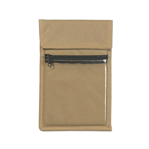 Khaki Non-Woven Neck Wallet Badge Holder as seen from the front
