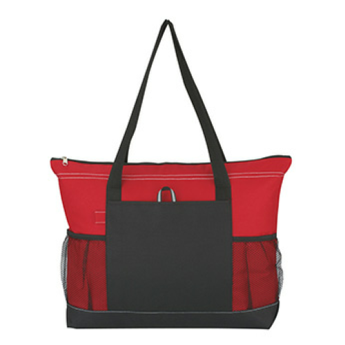 Red Voyager Tote as seen from the front