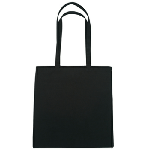 Black 100% Cotton Tote Bag as seen from the front