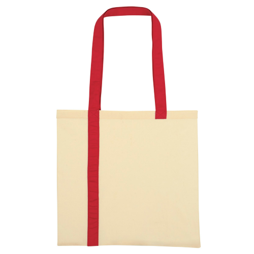 Red Striped Economy Cotton Canvas Tote as seen from the front