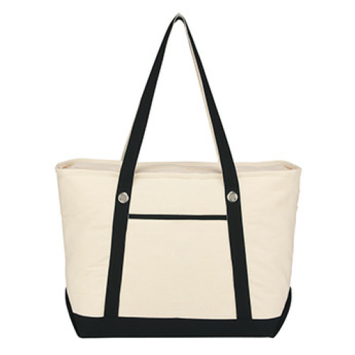 Black Large Cotton Canvas Sailing Tote as seen from the front