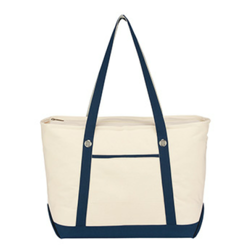 Navy Large Cotton Canvas Sailing Tote as seen from the front