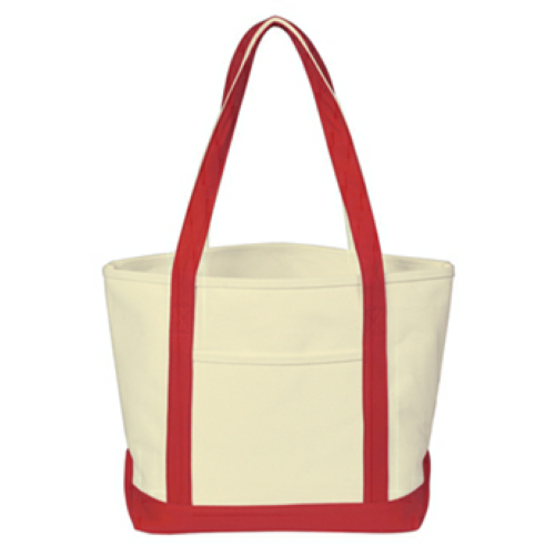 Red Heavy Cotton Canvas Boat Tote as seen from the front