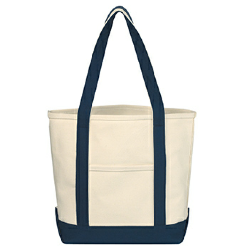 Navy Small Heavy Cotton Canvas Boat Tote as seen from the front