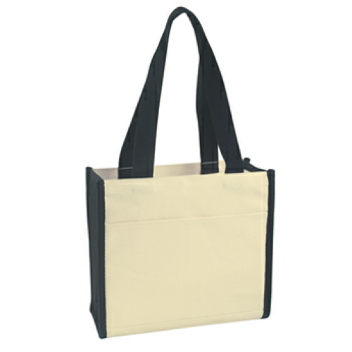 Black Heavy Cotton Canvas Tote Bag as seen from the front