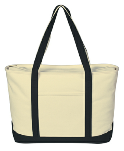 Black Large Heavy Cotton Canvas Boat Tote as seen from the front