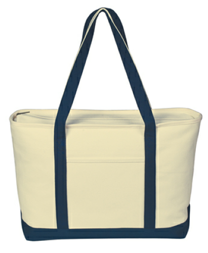 Navy Large Heavy Cotton Canvas Boat Tote as seen from the front
