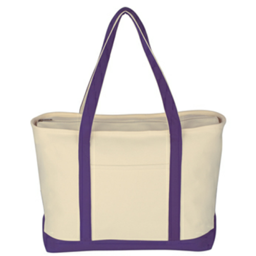 Purple Large Heavy Cotton Canvas Boat Tote as seen from the front
