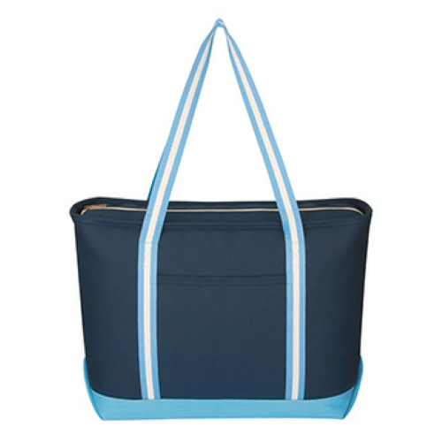 Navy/carolina Blue Large Cotton Canvas Admiral Tote as seen from the front