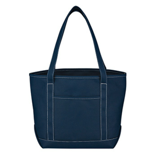 Navy Medium Cotton Canvas Yacht Tote as seen from the front