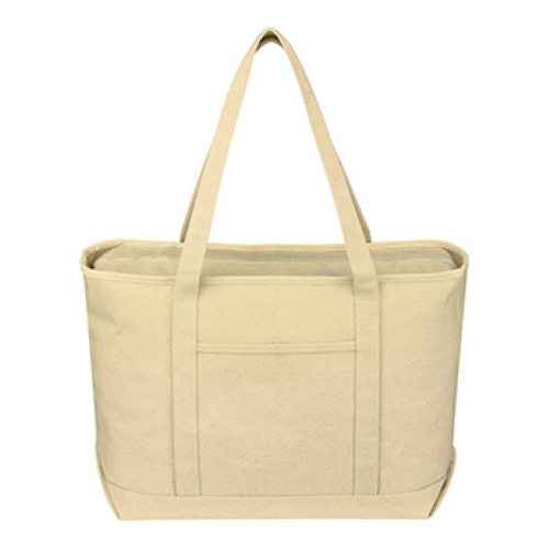 Natural Large Cotton Canvas Yacht Tote as seen from the front