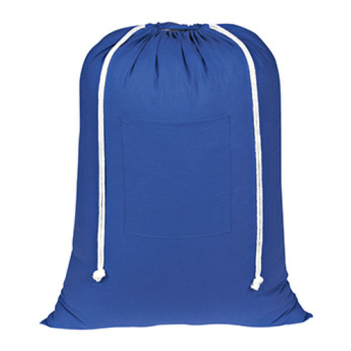 Royal Blue Cotton Laundry Bag as seen from the front