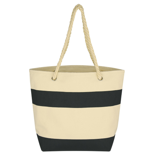 Black Cruising Tote With Rope Handles as seen from the front