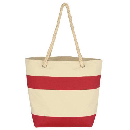 Red Cruising Tote With Rope Handles as seen from the front