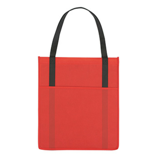 Red Non-Woven Shopper's Pocket Tote Bag as seen from the front