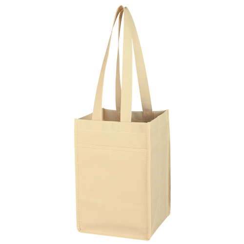 Khaki Non-Woven 4 Bottle Wine Tote as seen from the front