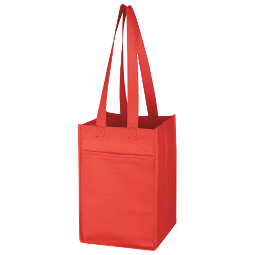 Red Non-Woven 4 Bottle Wine Tote as seen from the front