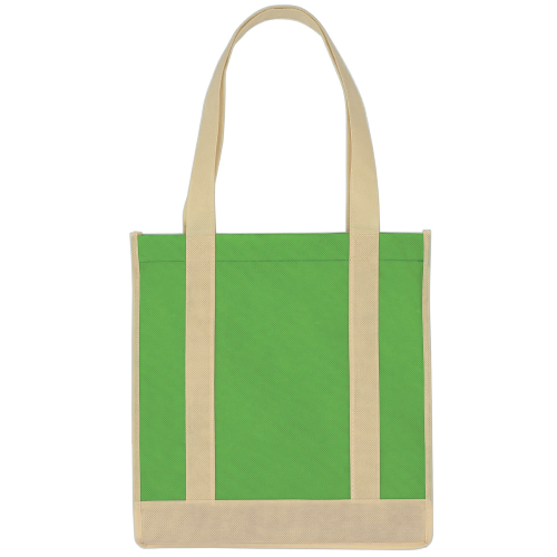 Kelly Green/ivory Non-Woven Two-Tone Shopper Tote Bag as seen from the front