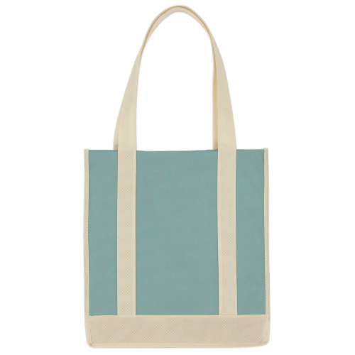 Light Blue/ivory Non-Woven Two-Tone Shopper Tote Bag as seen from the front