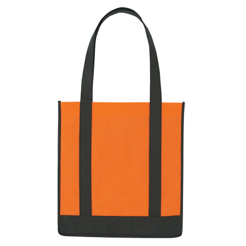 Orange/black Non-Woven Two-Tone Shopper Tote Bag as seen from the front